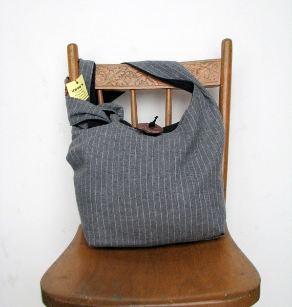 GREY STRIPED HOBO Bag Long Strap Crossbody Bag Reversible Boho