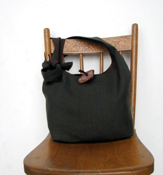 CROSSBODY BAG Hobo Bag Hippie Bag Cross Body Bag Boho Bag Handmade Bag Designer Handbag Striped Dark Green and Brown