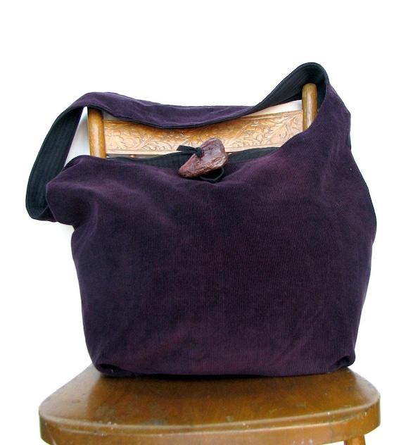 HIPPIE BAG Cross Body Bag Slouch Bag Vegan Purse Shoulder Bag Crossbody Bag Grey Bag Purple Bag Handmade Bag Large Bag