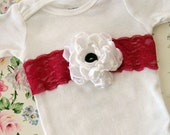 beautiful vintage inspired onesie embellished with vintage lace and fabric flower, 3m to 6m, baby girl shabby chic photo shoot spring