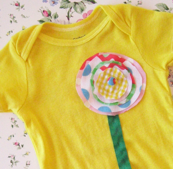 a vintage bloom sunshine yellow hand dyed onesie embellished with vintage fabric and ribbon, 18 m, baby girl photo spring shabby chic