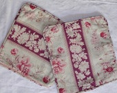 Antique French Fabric Rosy Red Peonies pair pillows 19th Fabric.