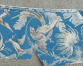 Antique French Fabric Birds Tropical long fragment