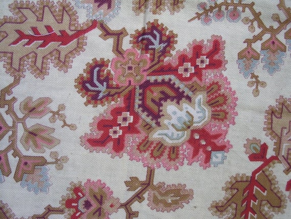 Antique French Fabric 19th Century Caramel and red Kilim design 38 X 32""