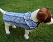 Dog Jacket -  Blue Missoni-Style Knit Fabric Dog Coat- Size Small 12-14 Inch Back Length - Or Custom Size