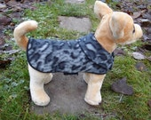 Dog Jacket - Grey and Black Leopard Fleece Dog Coat- XX Small- 8 to 10 Inch Back Length - Or Custom Size