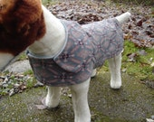 Dog Coat - Brown and Teal Corduroy Coat- Size Small- 12 to 14  Inch Back Length - Or Custom Size