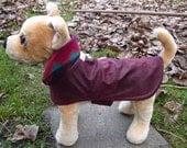Dog Jacket - Burgundy Faux Leather Dog Coat - Size Small 8 to 10  Inch Back Length