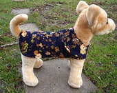 Dog Coat - Navy and Brown Floral Corduroy Coat- Size XX Small Length