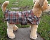 Dog Coat - Grey White and Red Plaid Corduroy Coat- Size XX Small Length