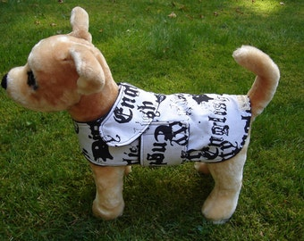 Dog Jacket -  Dirty English/Affliction Black and White Dog Coat Size XX Small- 8 to10 Inch Back Length - Or Custom Size
