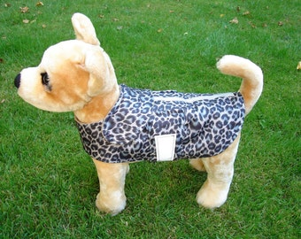 Dog Jacket -  Dog Coat - Nylon Leopard Reflective Safety Raincoat- Size XX Small Dog Coat- 8 to 10 Inch Back Length - Or Custom Size