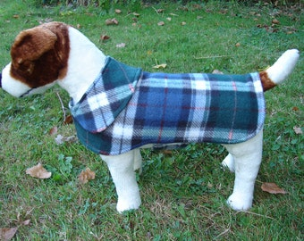 Upsize Charge for Nancy- Navy and Green Fleece Plaid Dog Coat- Size Small