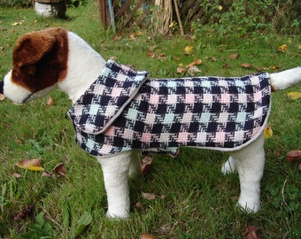 Dog Coat - Black Blue and Pink Houndstooth Coat- Size Small- 12 to 14  Inch Back Length - Or Custom Size