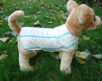 Dog Raincoat - Ivory and Aqua Stripes Raincoat with Ivory Fleece Lining - Size XX Small 8 to 10  Inch Back Length - Or Custom Size