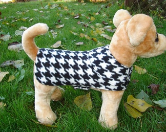Dog Coat - Black and White Houndstooth Fleece Coat- Size XX Small- 8 to 10 Inch Back Length - Or Custom Size