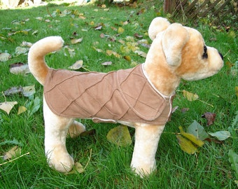 Dog Jacket -  Tan Pintuck Corduroy Coat- Size XX Small- 8 to 10 Inch Back Length - Or Custom Size