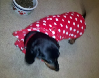 Dog Coat - Red and White Polka Dot Fleece Dog Coat- Size Med- 16 to 18 Inch Back Length - Or Custom Size