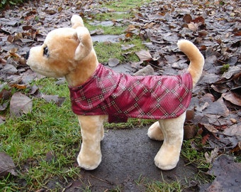 Dog Jacket -  Faux Snakeskin Red Plaid Coat - Size Small 8 to 10  Inch Back Length