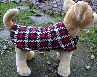 Dog Coat - Red black and White Plaid Dog Coat- Size XX Small- 8 to 10 Inch Back Length - Or Custom Size