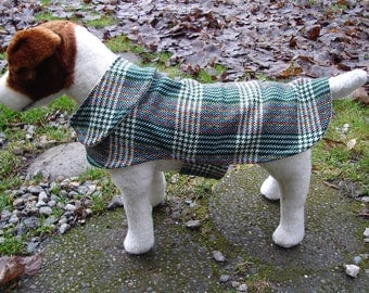Dog Jacket - Green White Multicolor Plaid Wool Dog Coat- Size Small- 12 to 14 Inches Back Length - Or Custom Size