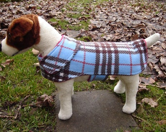 Blue, Brown and Red Fleece Plaid Dog Jacket - Size Small 12 to 14 Inch Back Length