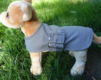 Dog Coat - No Velcro- Buckle Black and White Houndstooth Coat- Size XX Small