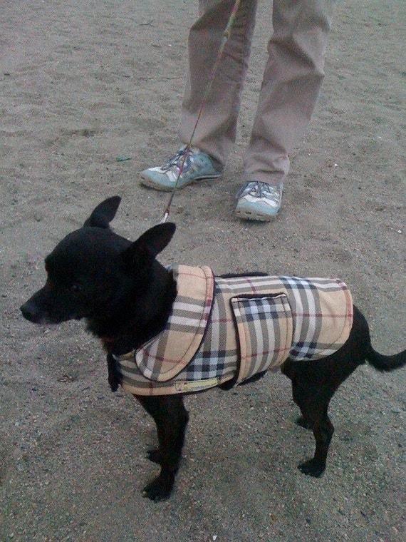 Dog Jacket -  Plaid Dog Coat- XX Small- 8 to 10 Inch Back Length