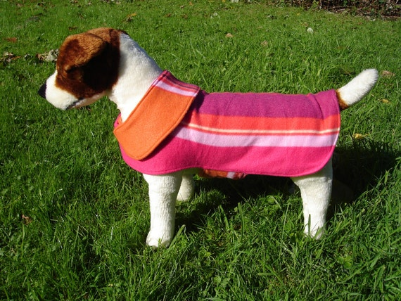 Dog Jacket -  Pink and Orange Striped Fleece Dog Coat- Size Small- 12-14 Inch Back Length