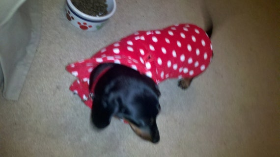 Dog Coat - Red and White Polka Dot Fleece Dog Coat- Size Med- 16 to 18 Inch Back Length - Or Custom Size