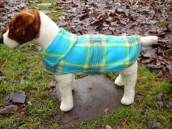Convertible Maternity or Plus Size Dog Coat - Turquoise and Green Plaid- Small 12-14 Inch Back Length