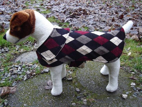 Dog Jacket -  Black Grey and Maroon Argyle Knit Fabric Dog Coat- Size Small- 12-14 Inch Back Length - Or Custom Size