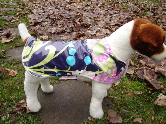 Dog Jacket - Purple Rain Floral Dog Raincoat - Size Small 12-14 Inch Back Length