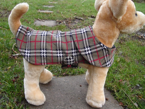 Dog Coat - Grey White and Red Plaid Corduroy Coat- Size XX Small Length