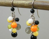 OUT OF TOWN - Citrus Dream Stone Cluster Earrings - Orange Yellow Green Black White - Cute Small Casual Fun Cluster Dangle