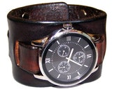 Item 032310 Hand made Brown Leather Watch Cuff - (watch face not included)