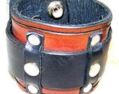 Item 060510 Riveted and Belted Leather Wrist Cuff Bracelet Wristband