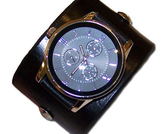 Item 121809 Minimalistic Black Leather Watch Cuff - (watch face not included)