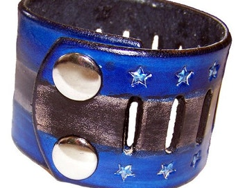 Item 020610 Blue Silver and Black Hand Tooled Leather Wrist Cuff