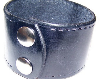 Simple Hand Made Black Leather Wrist Cuff with Stitching
