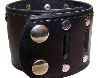 Item 123109 Hand Tooled Custom Black Leather Wrist Cuff