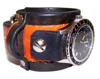 Item 030310 Imbler School Spirit Leather Watch Cuff - (watch face not included)