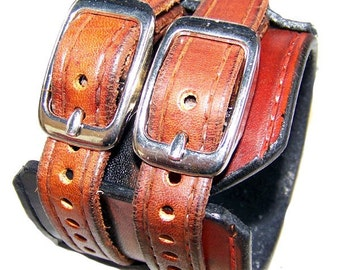 Leather Wrist Cuff Bracelet Extra Wide Two-Tone Brown Black 2.25 Inches wide 060110