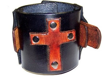 Item 111510 Leather Cross Wrist Cuff Vampire Diaries Bracelet Wristband
