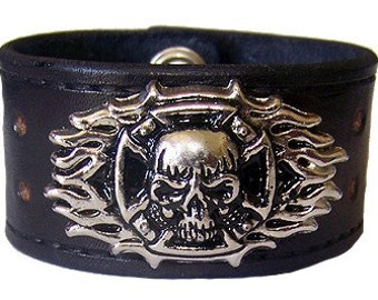 Item 100110 Skull Flame Leather Bracelet Wrist Cuff Wristband