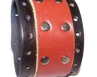Item 100210 Hand Made Double Hide Leather Wrist Cuff Bracelet Wristband