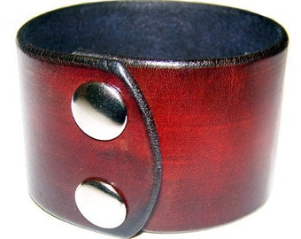 Item 021210 Deep Brown Leather Wrist Cuff Bracelet Wristband