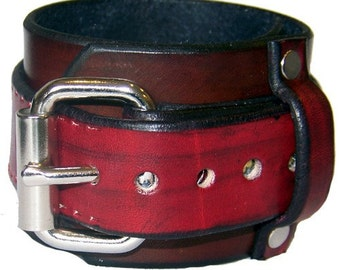 Item 021409 Belted Leather Wrist Cuff Bracelet Wristband