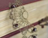 Earrings - wire crochet wearable art earrings filigree handmade lace antiqued brass lace with natural garnet gemstones - Moroccan Nights
