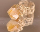 Sunshine Ring - crocheted 14kt gold filled lace with genuine rough citrine crystal nugget